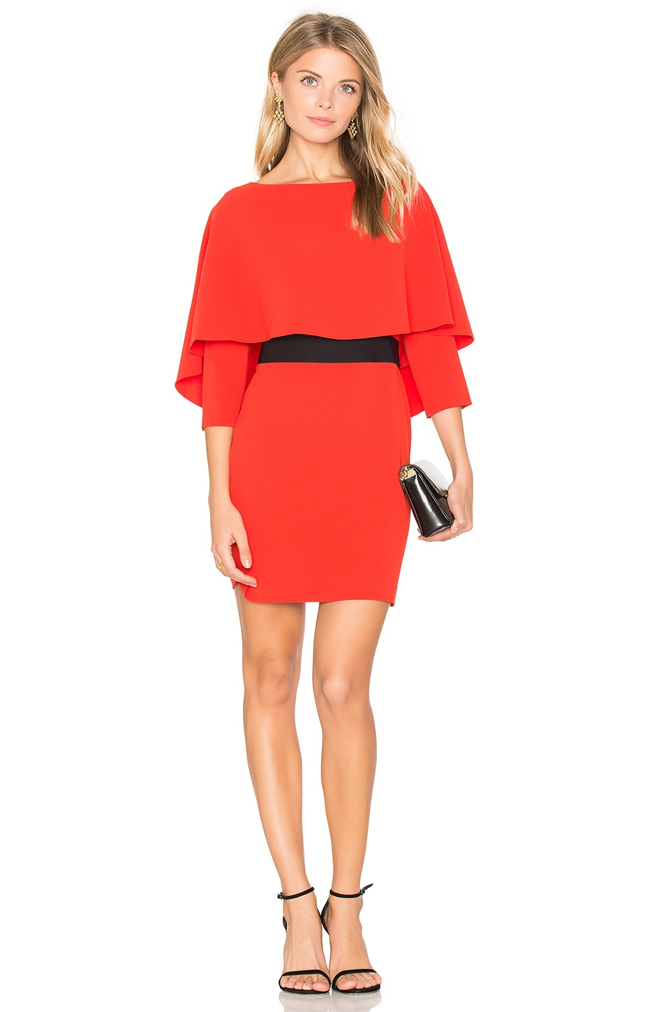 Alice Olivia Cairo Boatneck Dress In Poppy Black