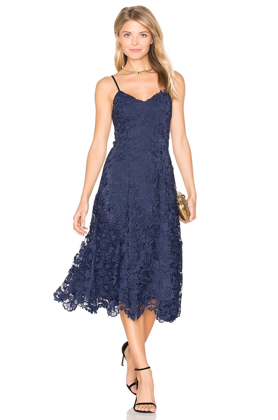 Alice + Olivia Naomi Flare Dress in Sapphire