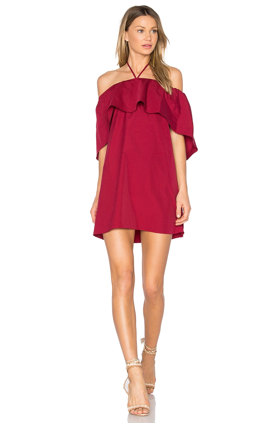 Alice + Olivia Jada Caped Dress in Bright Bordeaux