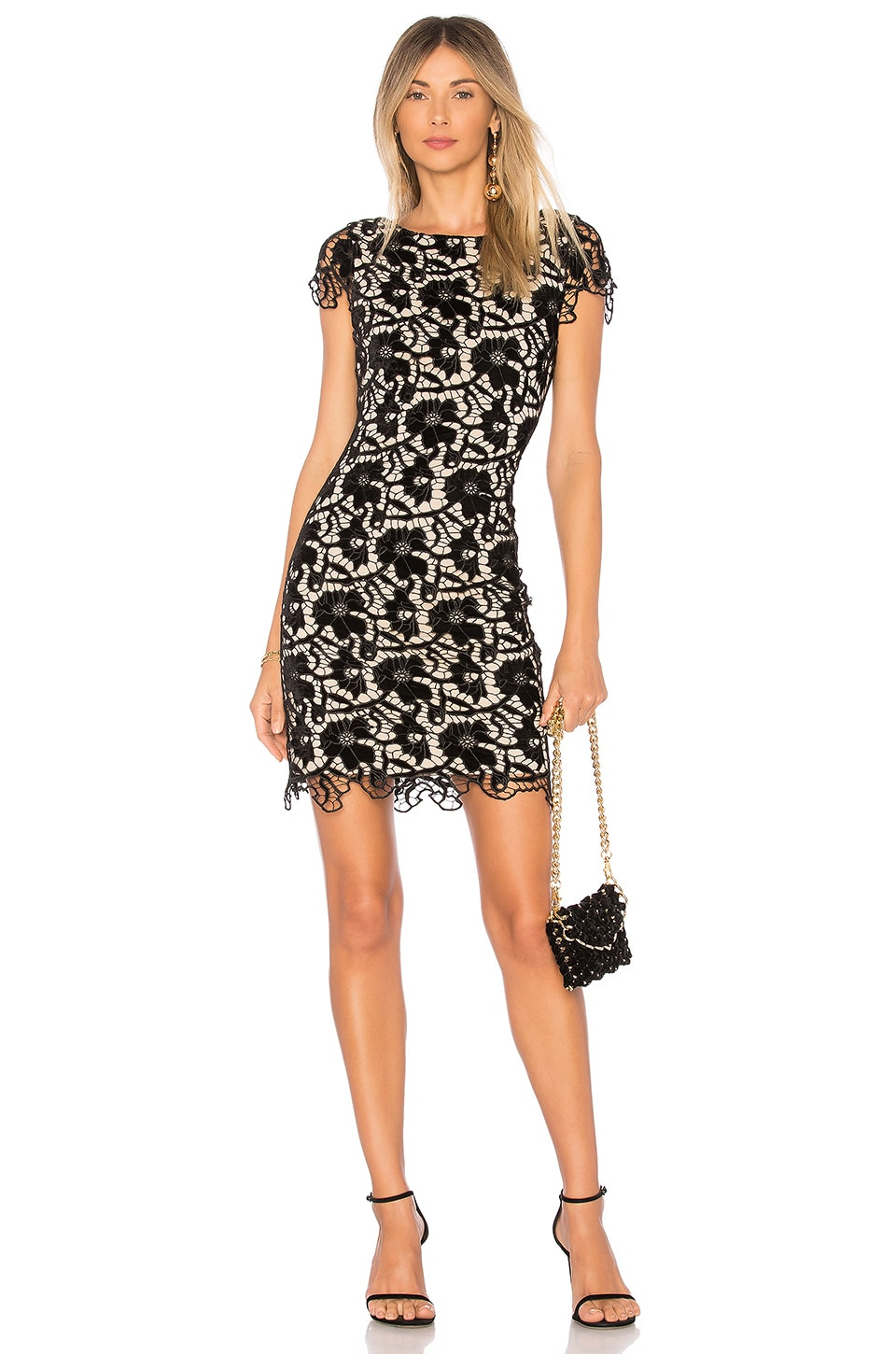 Alice + Olivia Clover Dress in Black & Sesame