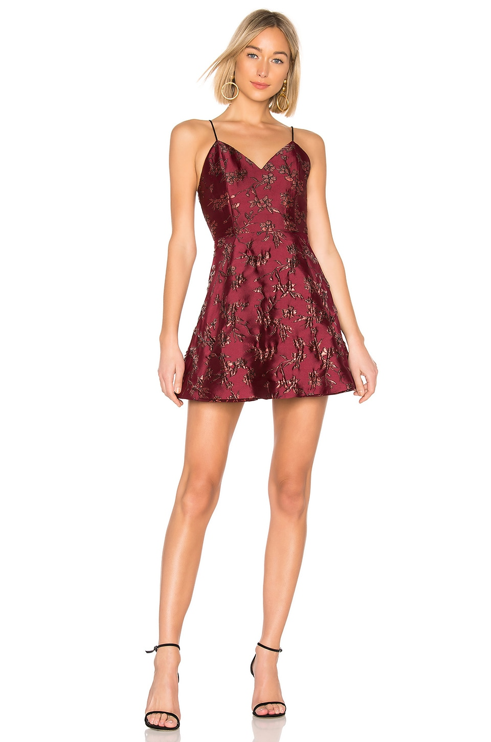 Alice + Olivia Anette Party Dress in Bordeaux