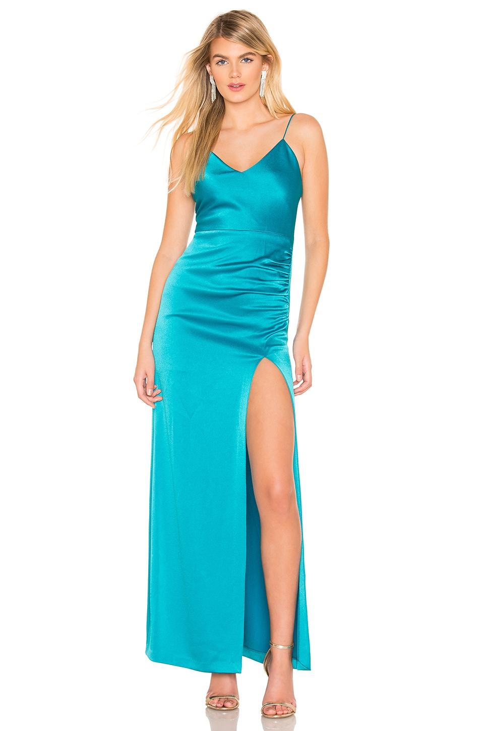 Alice + Olivia Fallon Ruched Gown in Teal