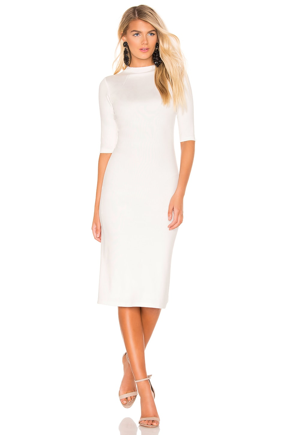 ALICE AND OLIVIA. Delora Fitted Mock-Neck Midi Dress ... 852dfc08b