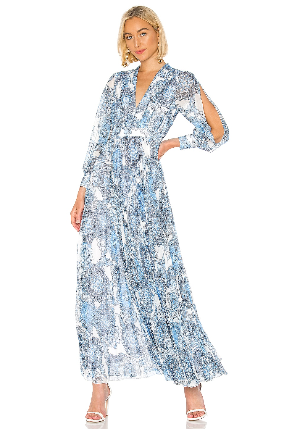 Alice + Olivia Cheney Pleated Gown in Batik Medallion SFT
