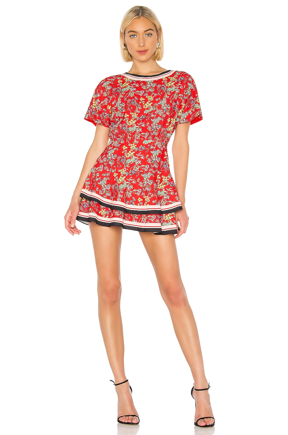 Alice + Olivia Palmira Ruffle Dress in Freesia Blossom