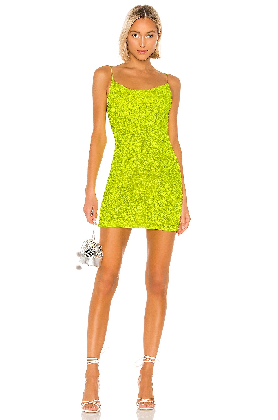Alice + Olivia Harmie Sequin Mini Dress in Neon Yellow