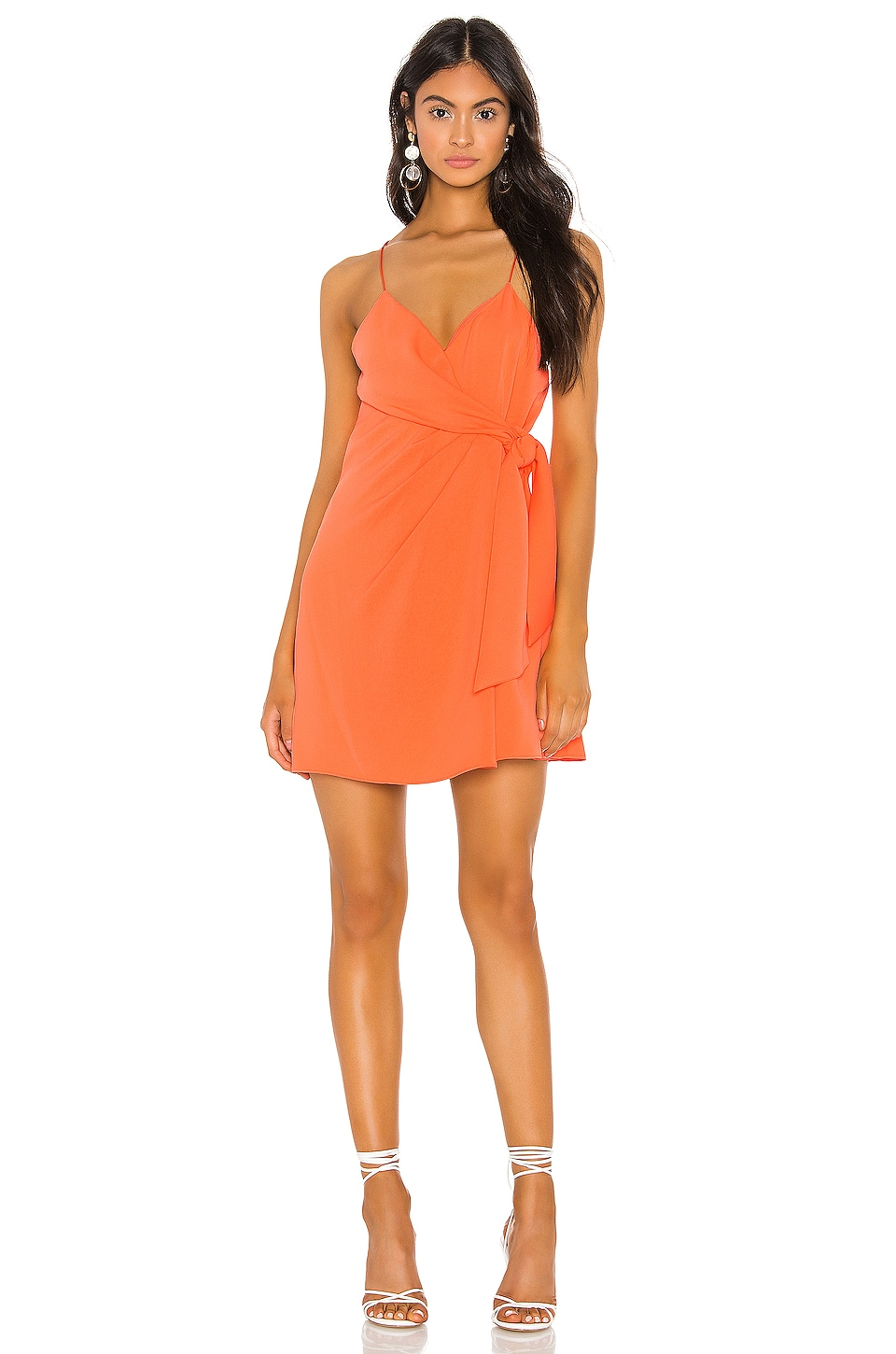 Alice + Olivia Katie Tie Wrap Mini Dress in Coral