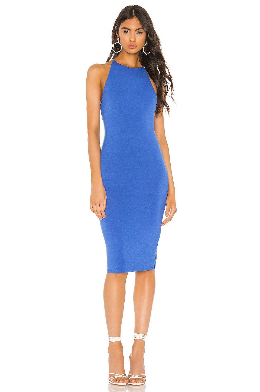 Alice + Olivia Delora Spaghetti Strap Fitted Midi Dress in Imperial Blue
