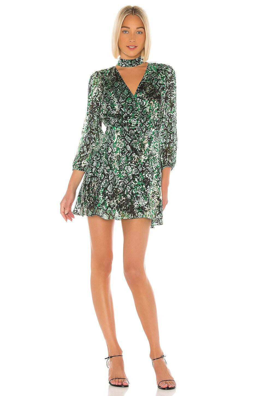 Alice + Olivia Rita Blouson Sleeve Mini Dress in Black & Emerald