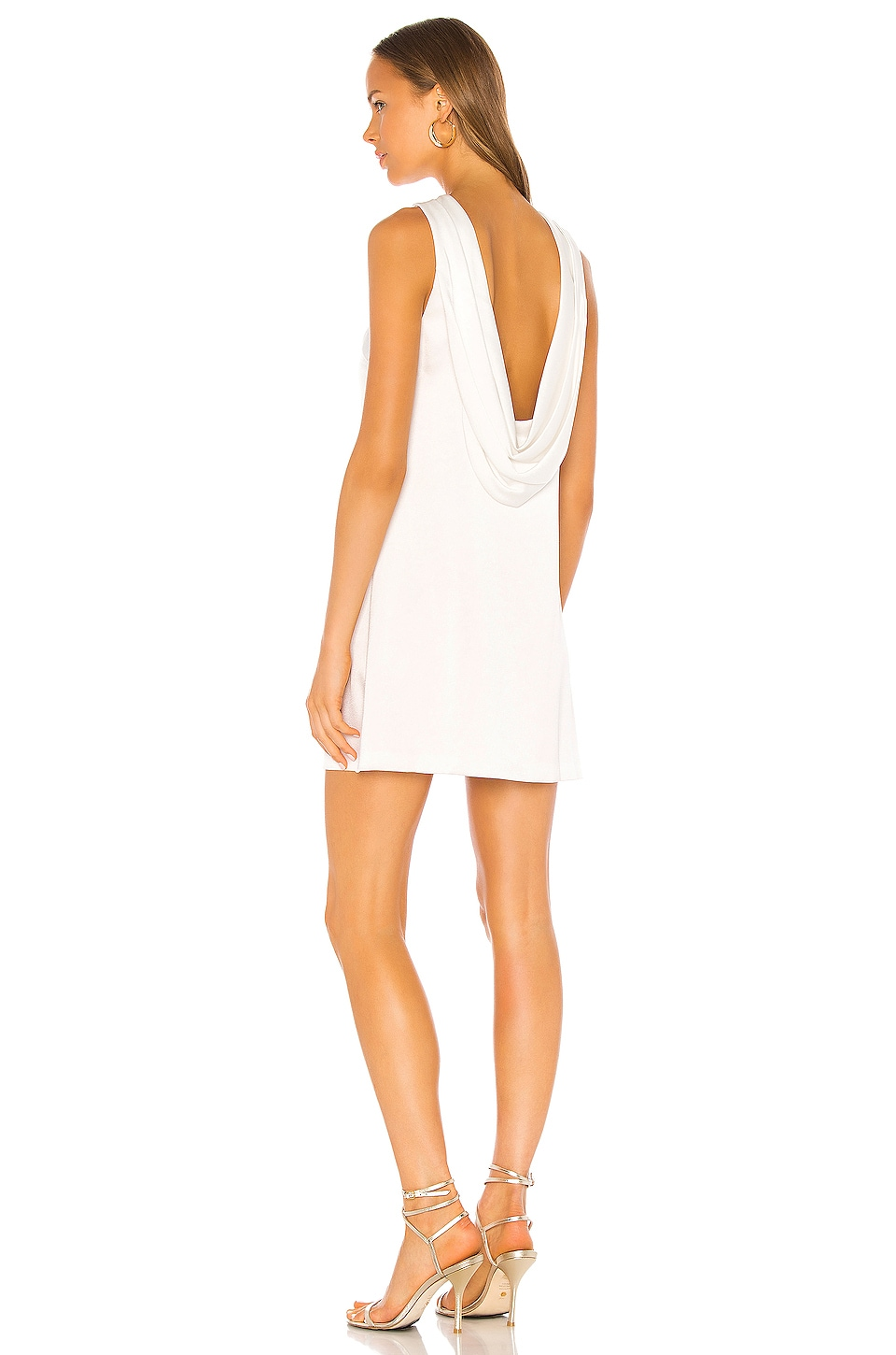 Alice + Olivia Lita Cowl Shift Dress in Off White