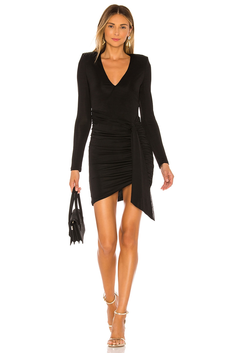 Alice + Olivia Kyra Deep V Drapey Mini Dress in Black