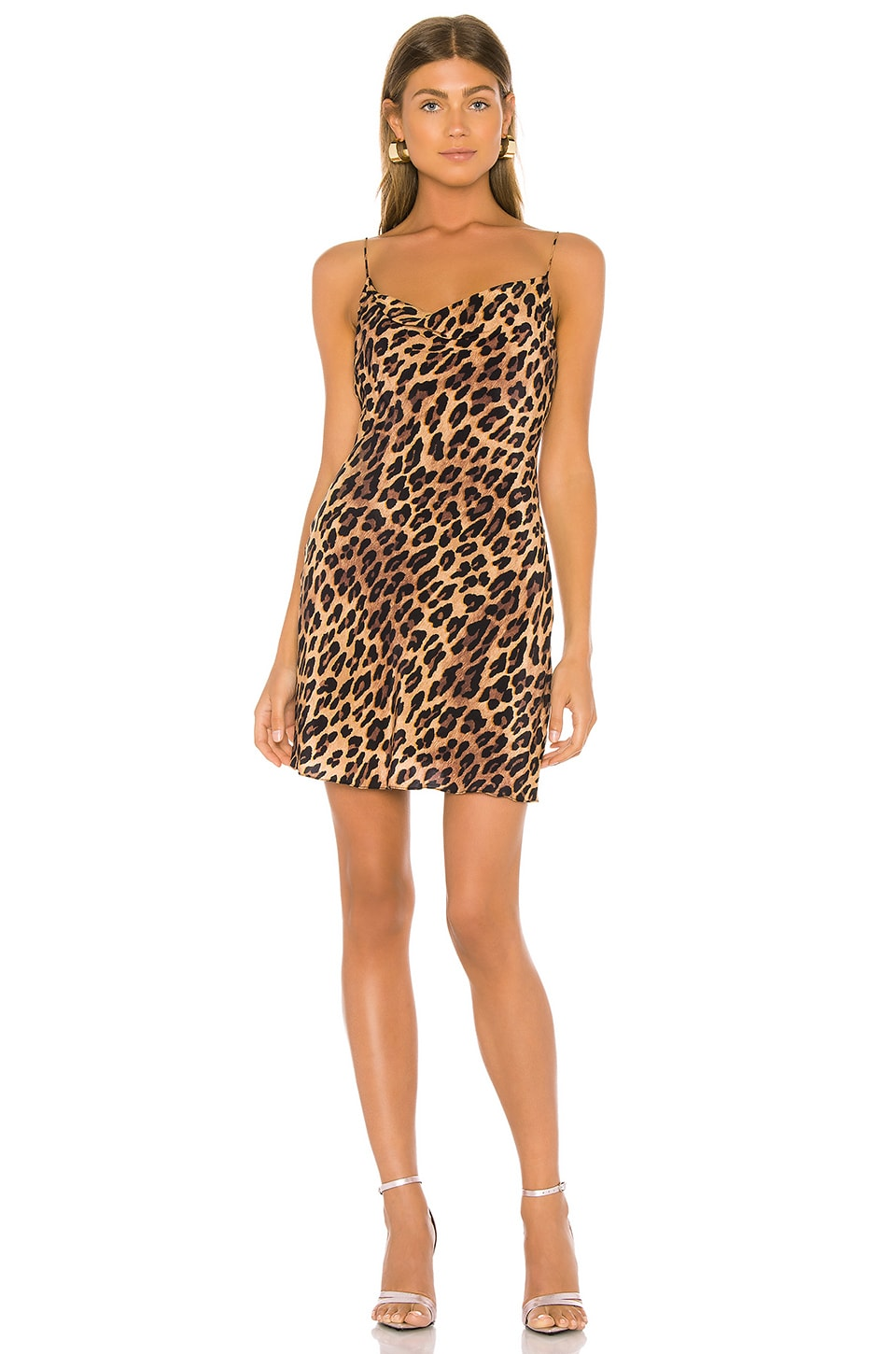 Alice + Olivia Harmony Drapey Slip Dress in Spotted Leopard Dark Tan
