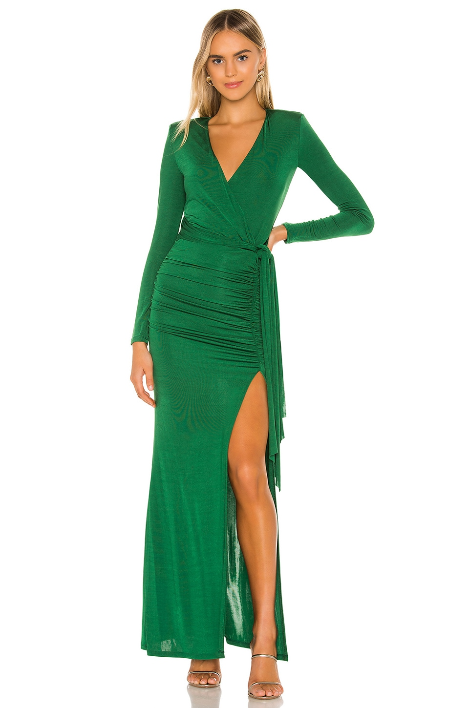 Alice + Olivia Kyra Deep V Drapey Maxi Dress in Basil