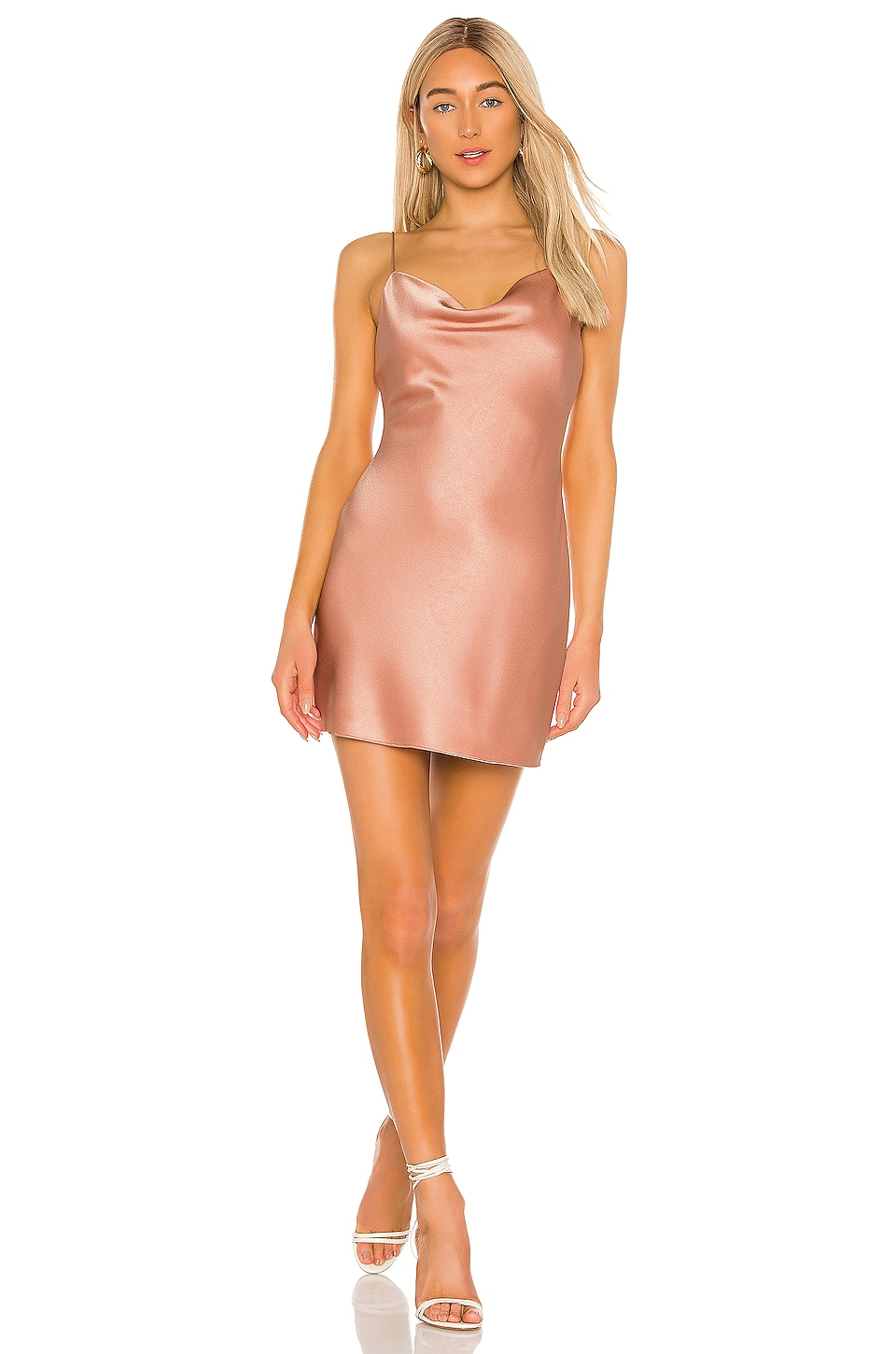 Alice + Olivia Harmony Drapey Slip Dress in Rose Tan