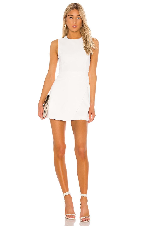 Alice + Olivia Kelsey Asymmetrical Drape Dress in Off White