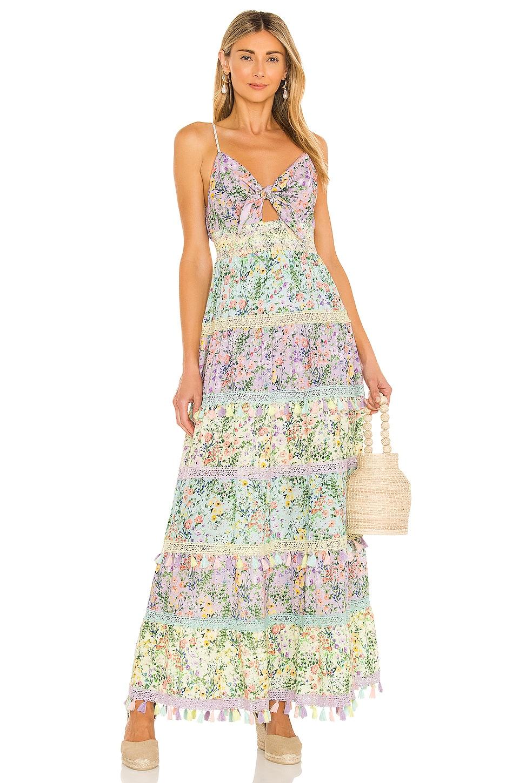 Alice + Olivia Karolina Tie Front Maxi Dress in Coastal Gardens Lavender & Combo