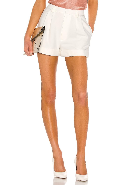 Alice + Olivia Conry Pleated Cuff Short in Off White