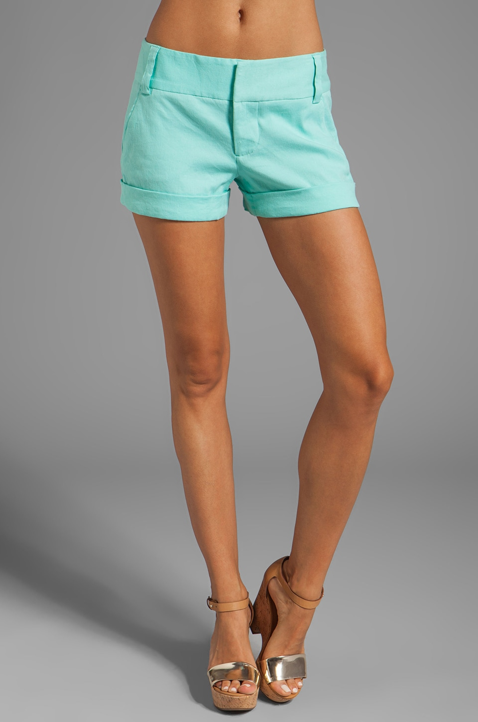 Alice + Olivia Cady Cuff Short in Aqua Splash