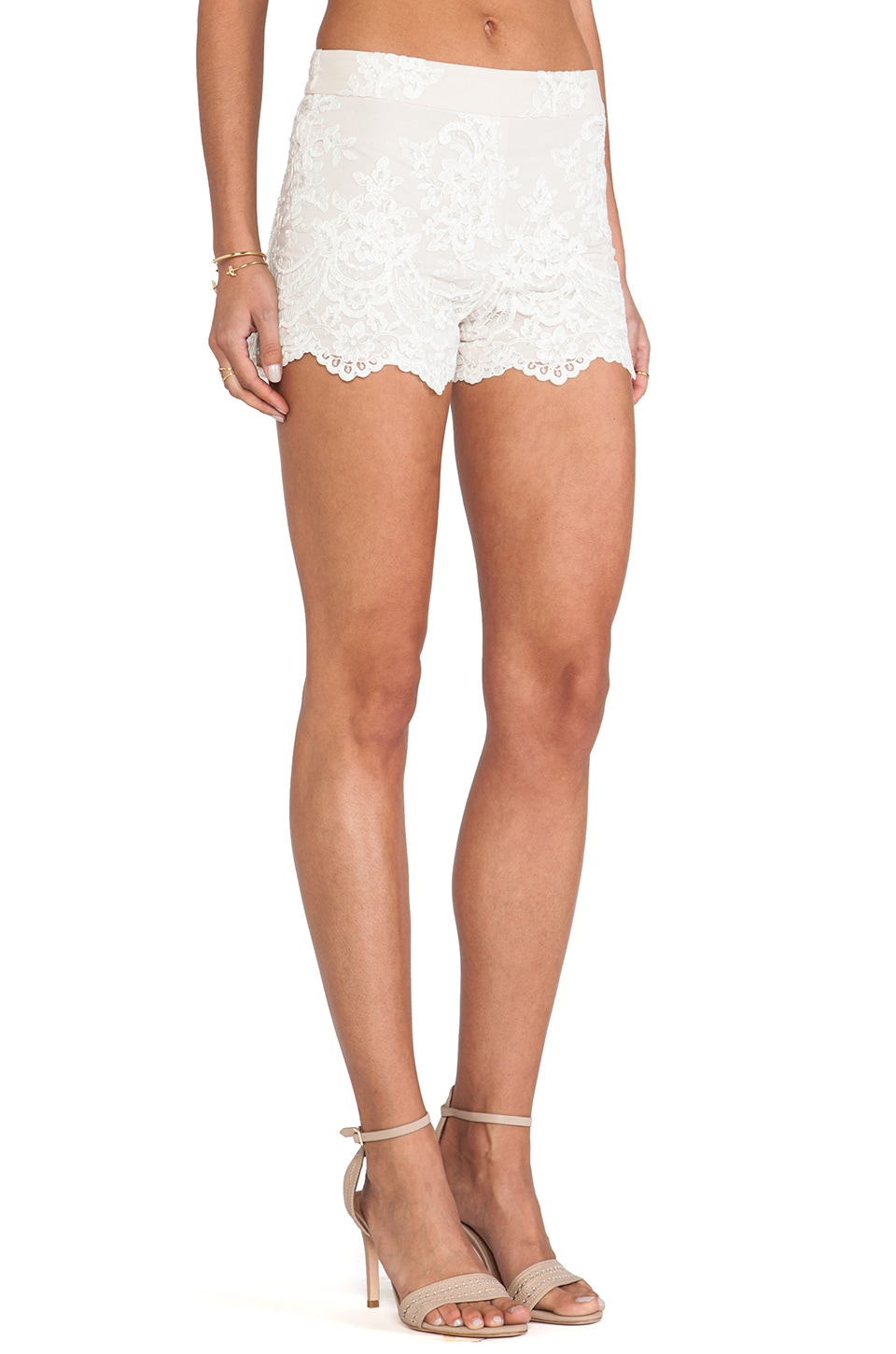 Alice   Olivia High Waisted Lace Short in Cream   REVOLVE