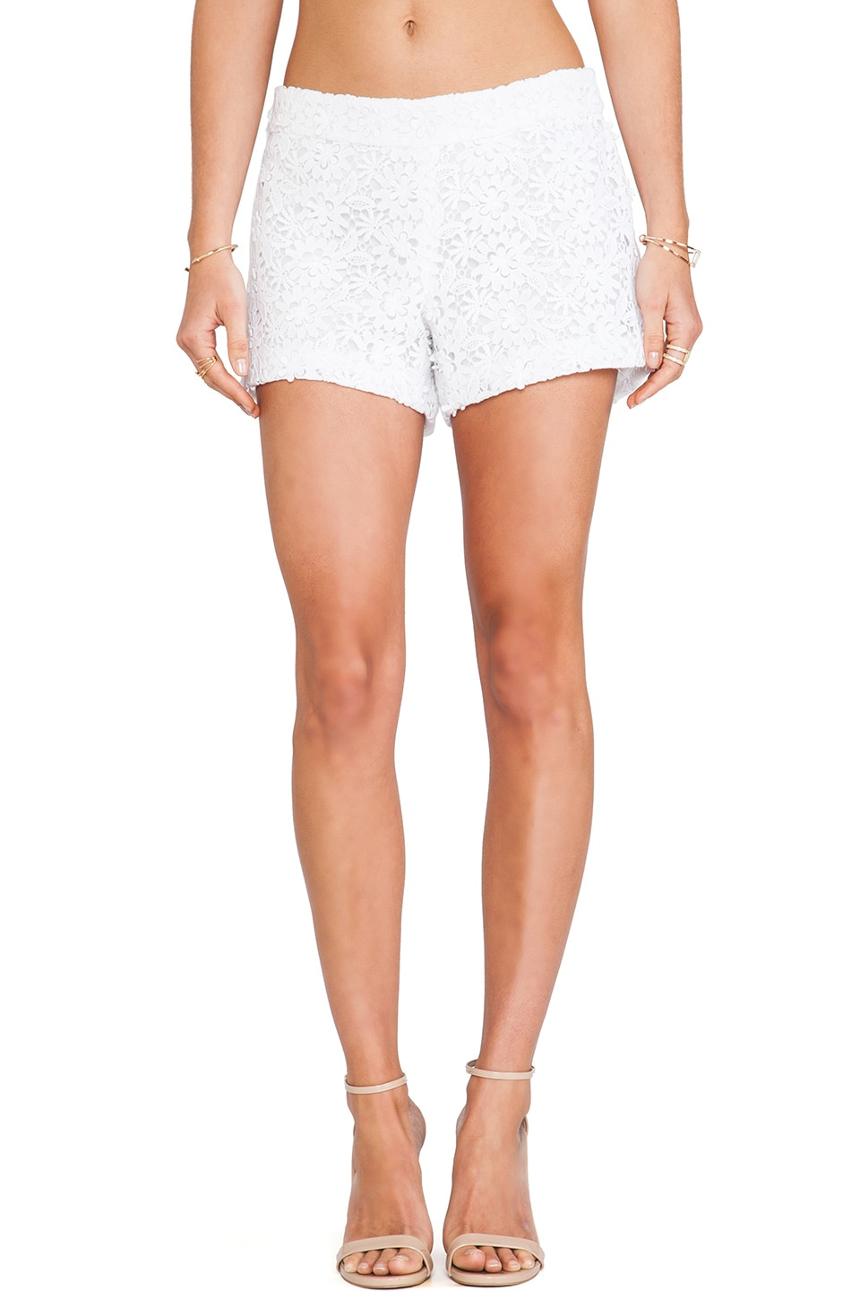 Alice + Olivia Crochet Lace Shorts in White
