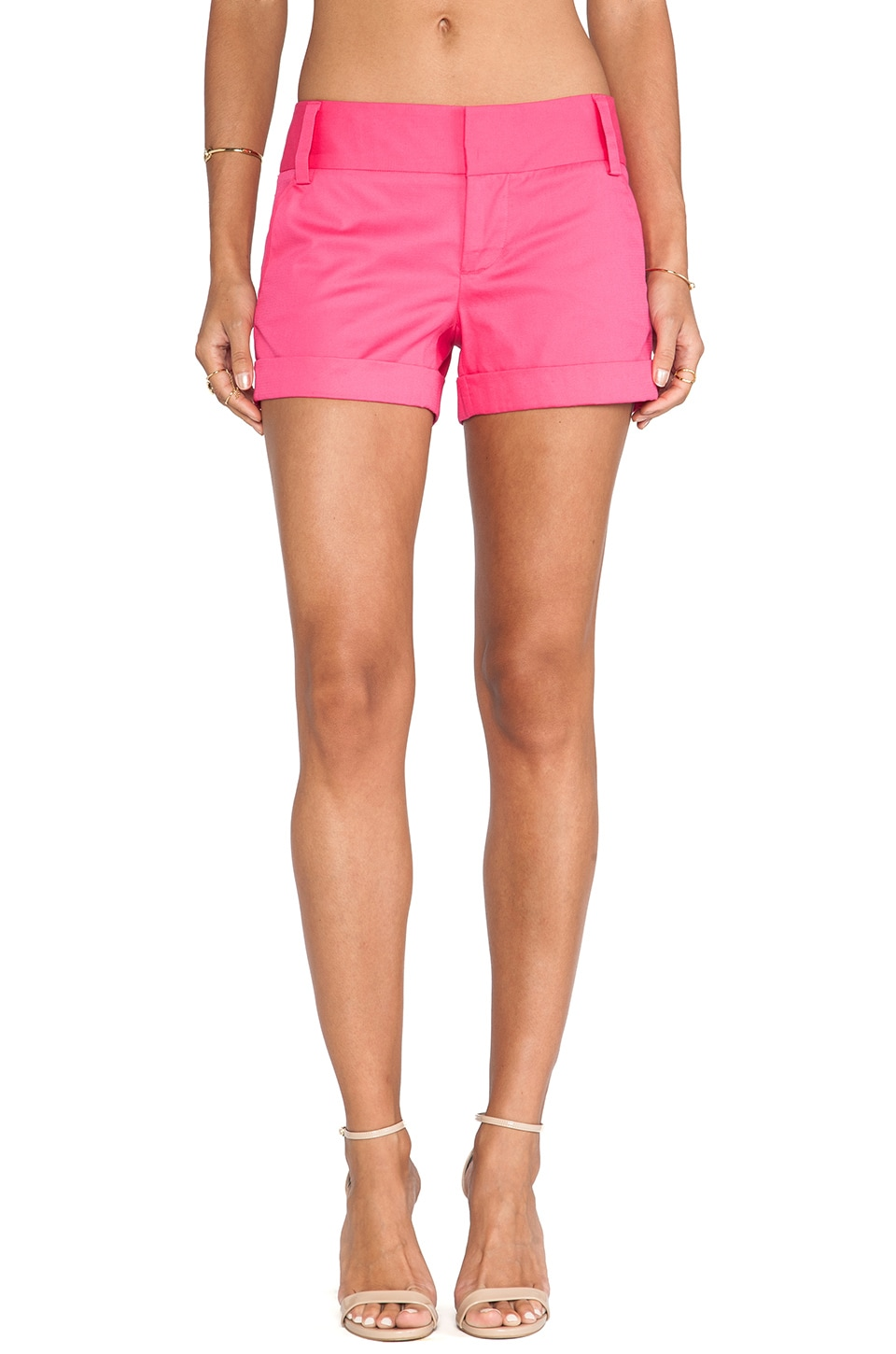 Alice + Olivia Cady Cuff Shorts in Fuchsia Pink Icing