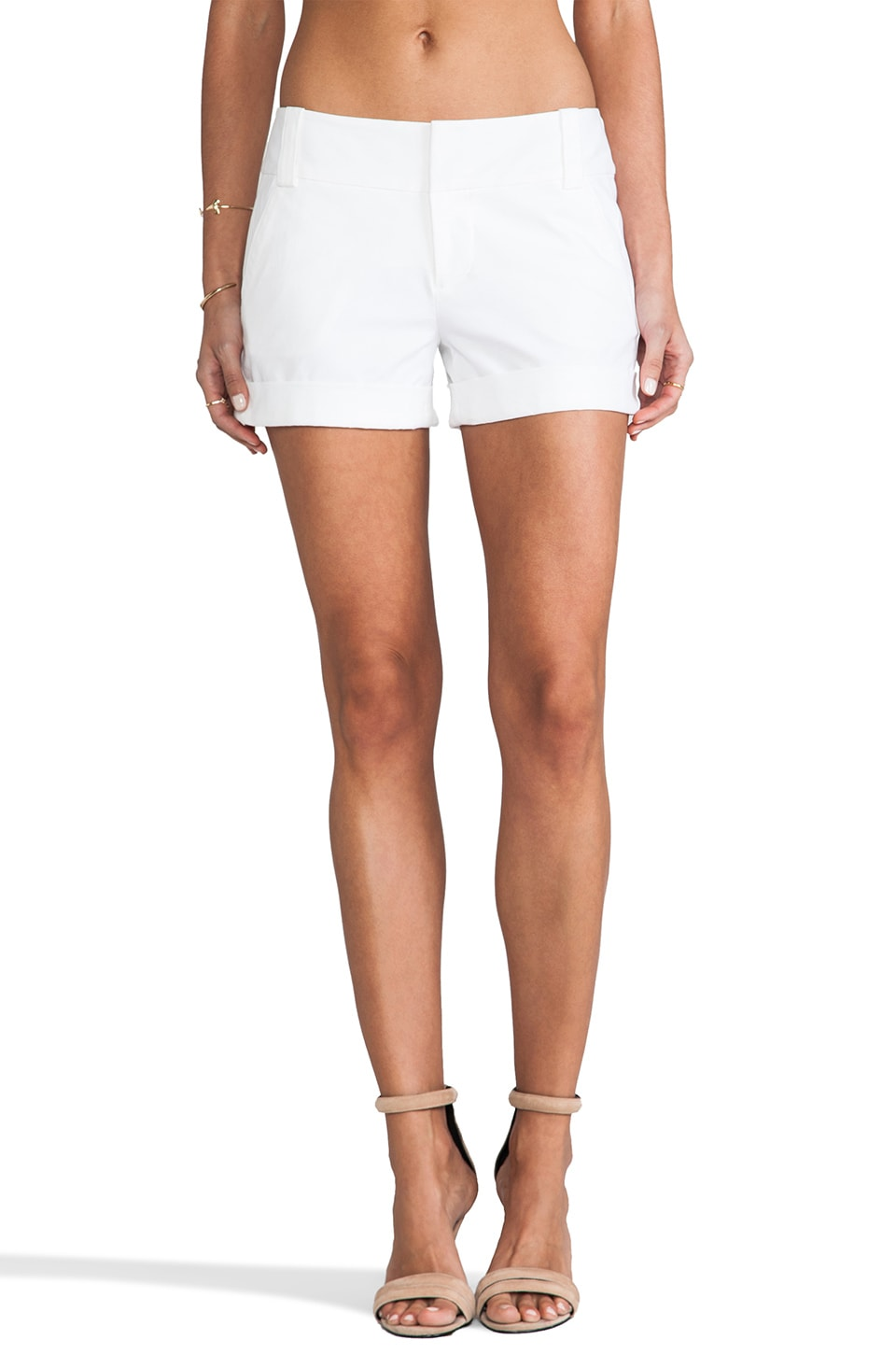 Alice + Olivia Cady Cuff Short in White