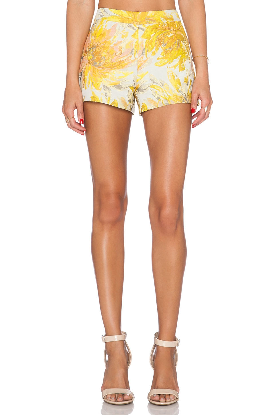 Alice + Olivia Back Zip Short in Yellow Multi