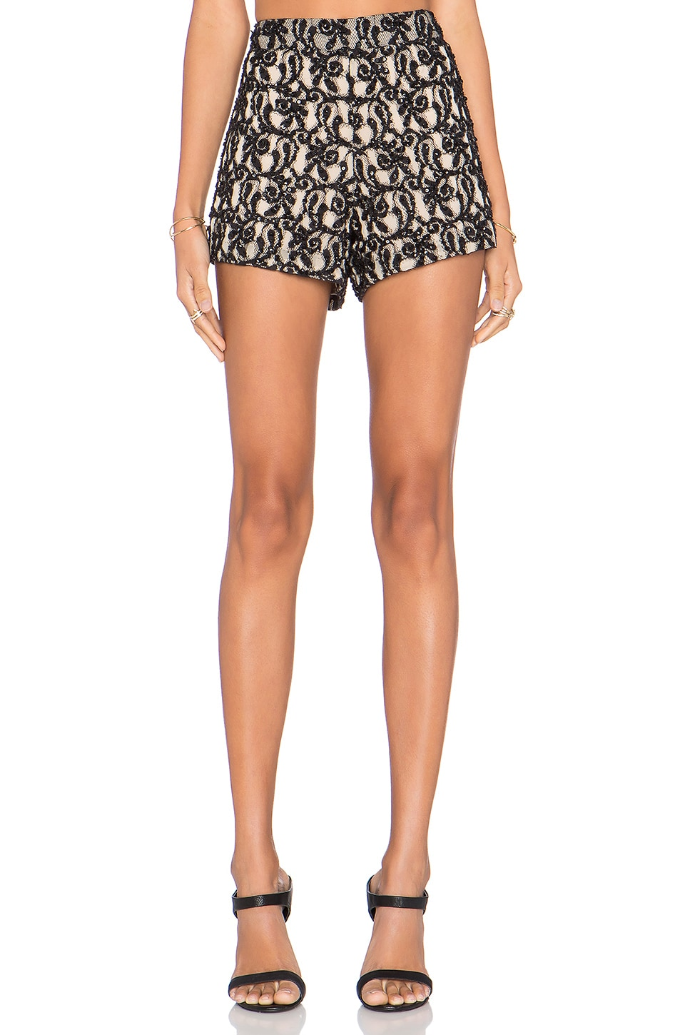 clearance prices first rate watch Alice + Olivia Embellished Short in Natural & Black | REVOLVE