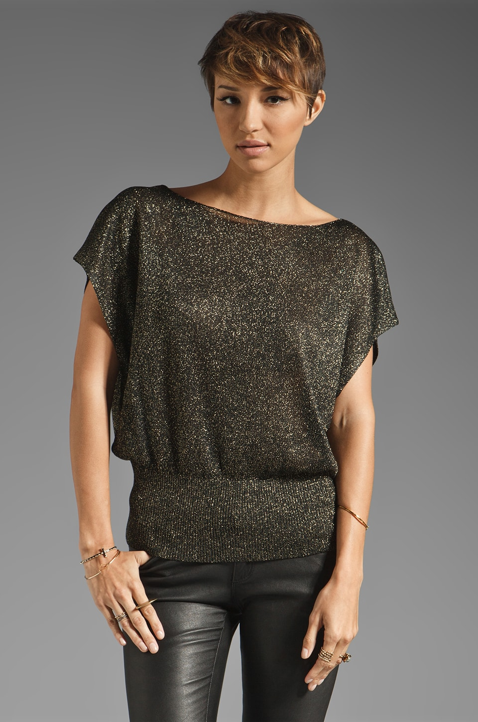 Alice + Olivia Celie Metallic Sparkly Pullover in Black/Gold