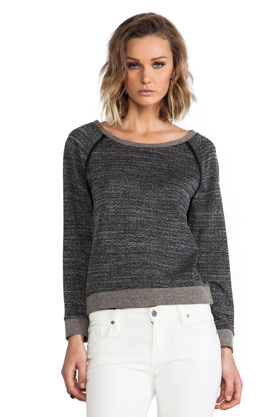 Alice + Olivia Long Sleeve Raglan With Leather Elbow Patch in Black/White