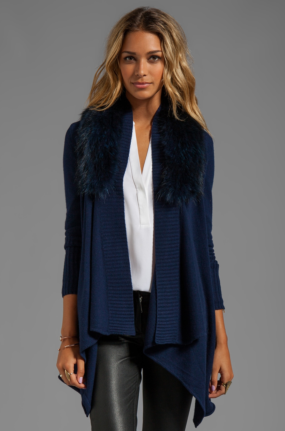 Alice + Olivia Emerson Stain Washed Cascade Cardigan in Denim