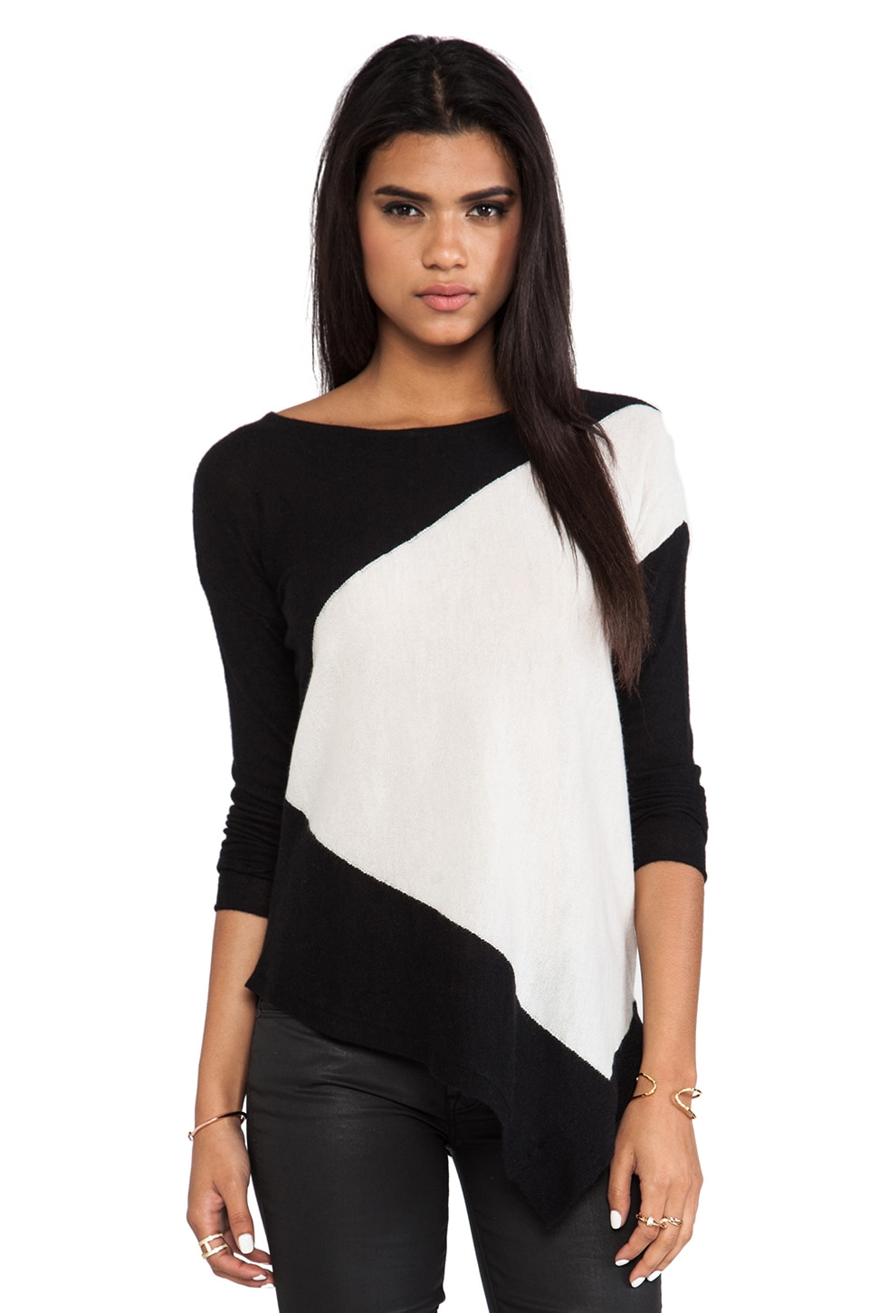 Alice + Olivia Stewart Color Blocked Boxy Bias Pullover in White/Black