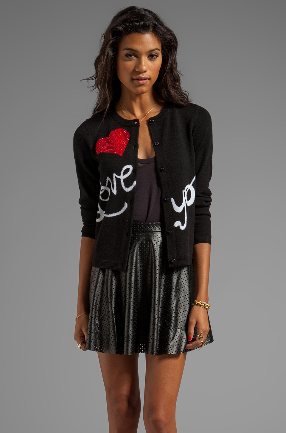 Alice + Olivia Love You Cardigan in Black/White/Red