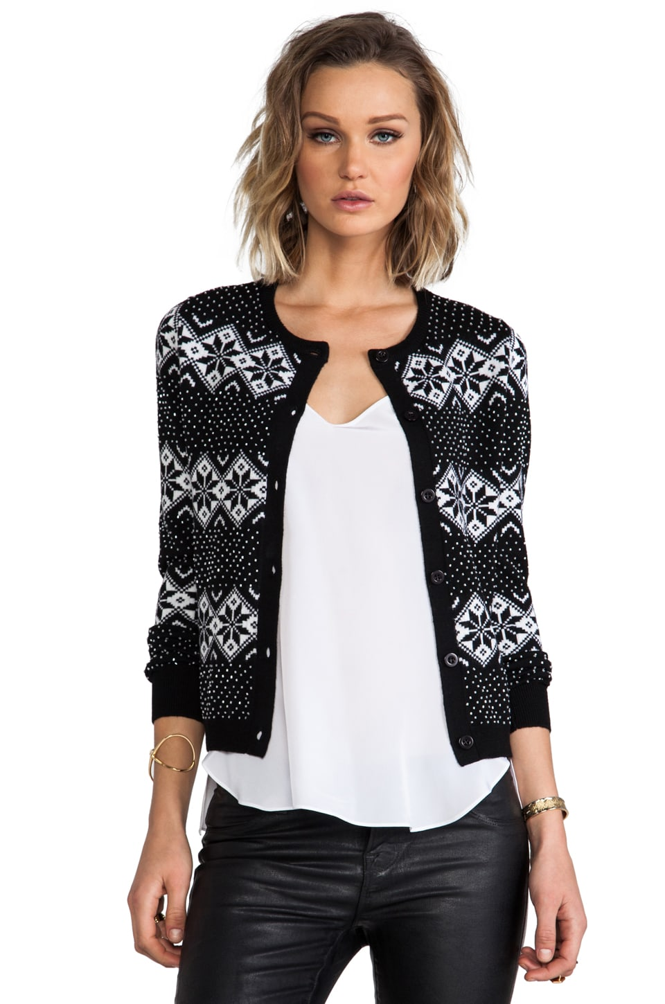 Alice + Olivia Snow Jacquard and Beads Cardigan in Black/White