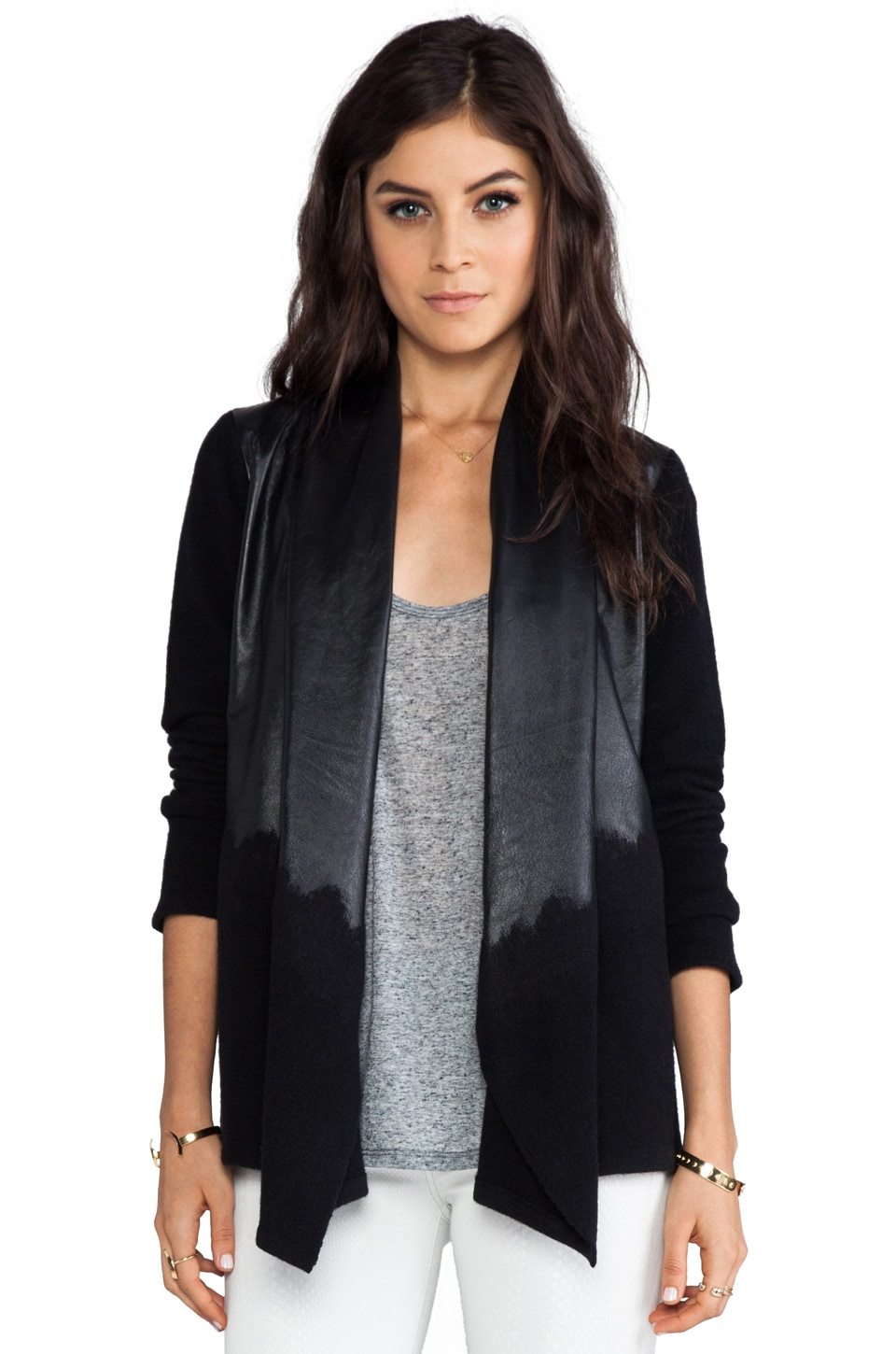 Alice + Olivia Aaralyn Leather Drape Cardigan in Black/Lambskin