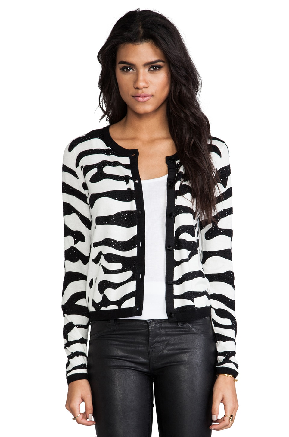 Alice + Olivia Zebra Cardigan in Black & White