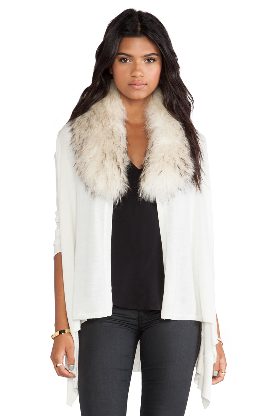 Alice + Olivia Izzy Cascade Cardigan With Fur Collar in Cream