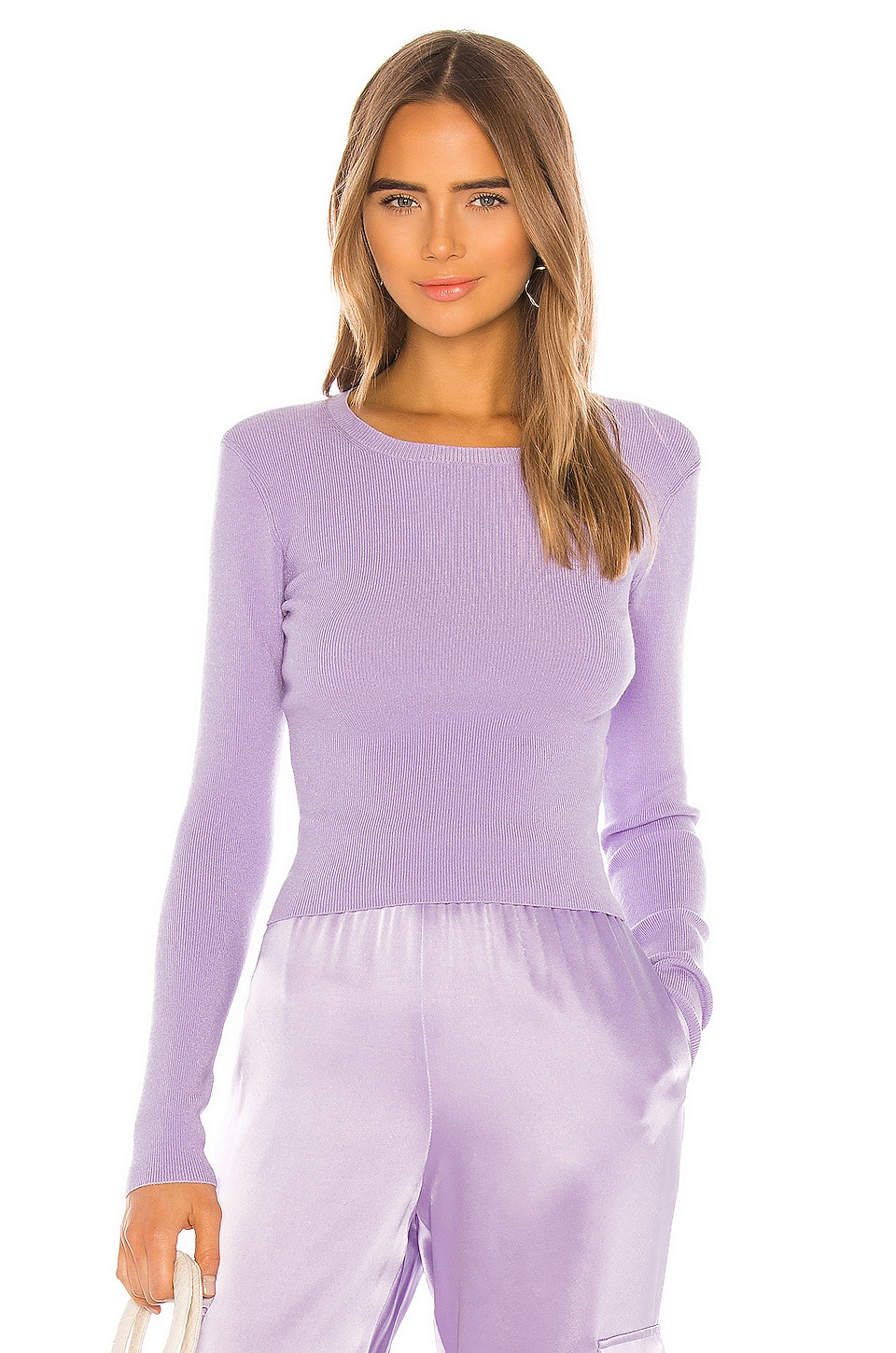 Alice + Olivia Ciara Long Sleeve Cropped Pullover in Lavender