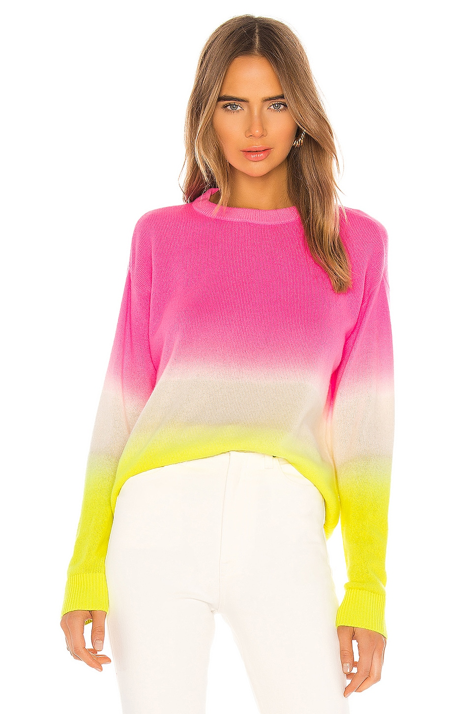 Alice + Olivia Gleeson Cashmere Blend Dip Dye Long Sleeve Pullover in Neon Pink & White & Neon Yellow