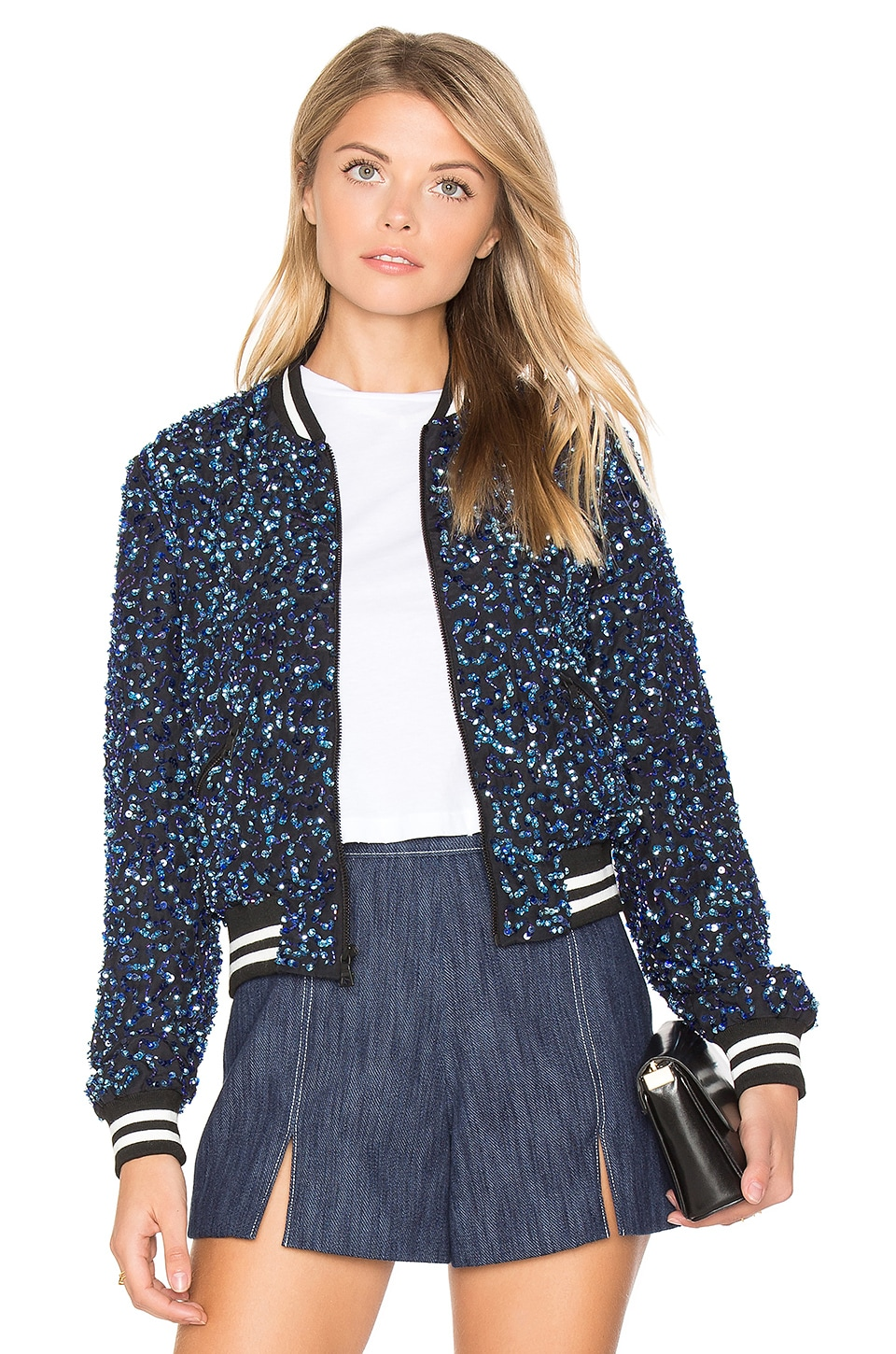 Alice + Olivia Lonnie Cropped Bomber Jacket in Cobalt