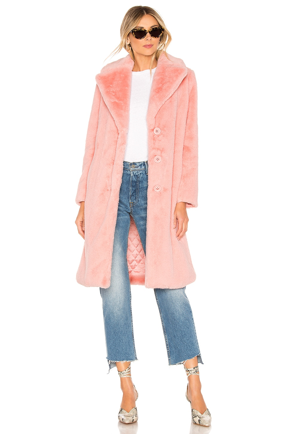 Alice + Olivia Foster Faux Fur Coat in Shell Pink
