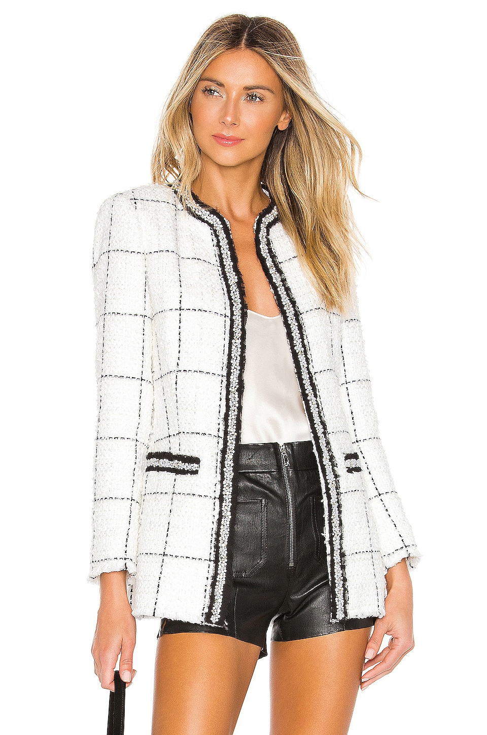 Alice + Olivia Indira Fitted Jacket in White & Black