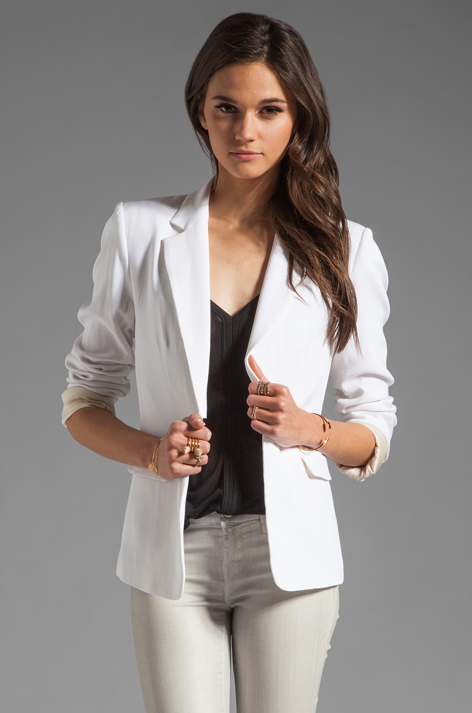 Alice + Olivia Elyse Blazer in White