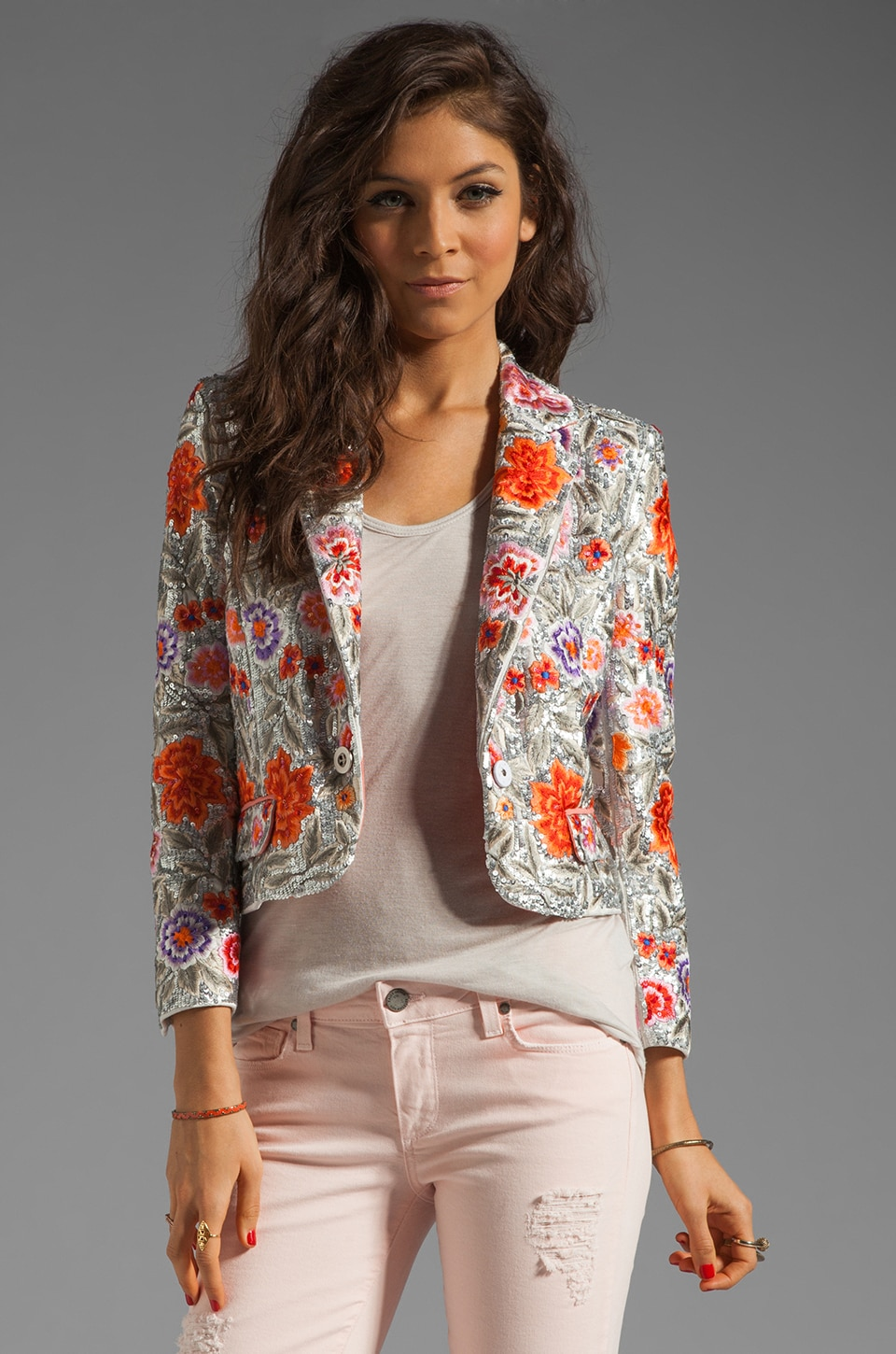 Alice + Olivia Vanda Embroidered Cropped Jacket in Multi