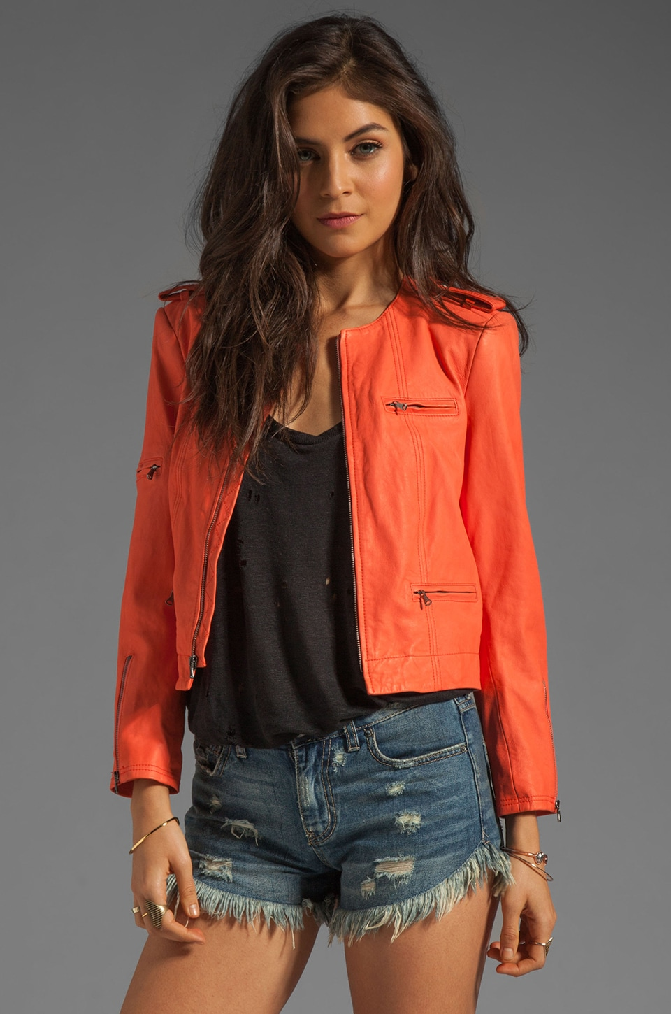 Alice + Olivia Cam Zipper Sleeve Biker Jacket in Orange