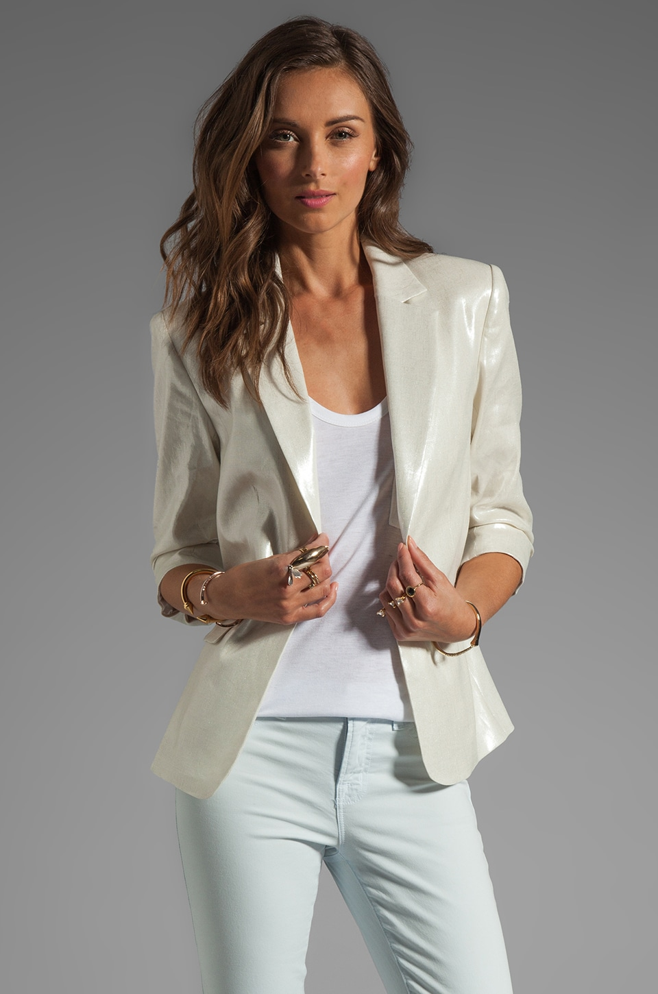 Alice + Olivia One Button Ruched Sleeve Blazer in Metallic