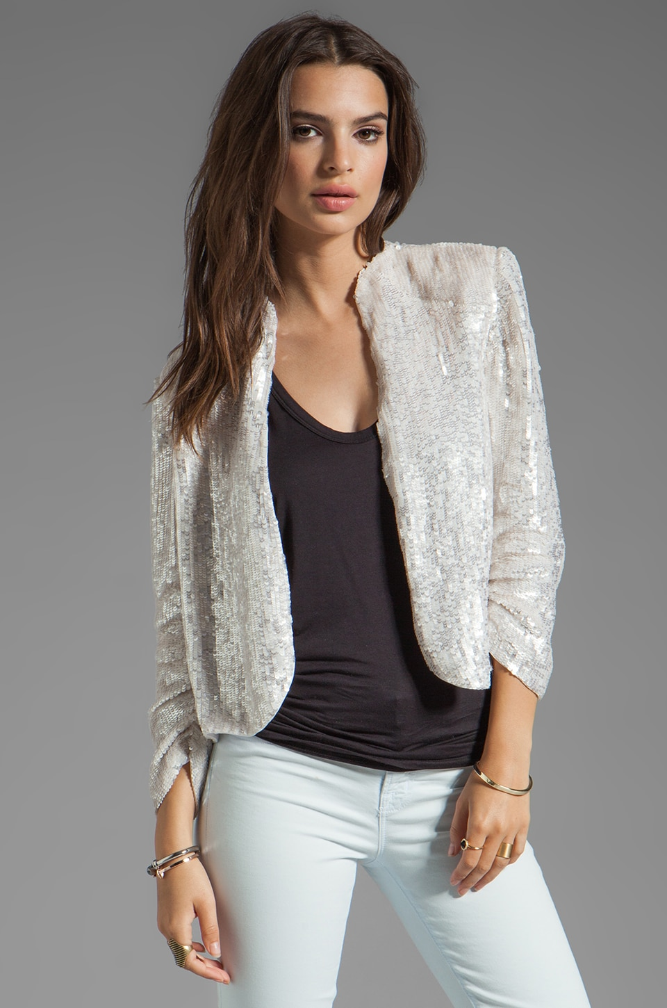 Alice + Olivia Wheeler Embellished Deconstructed Drape Jacket in White