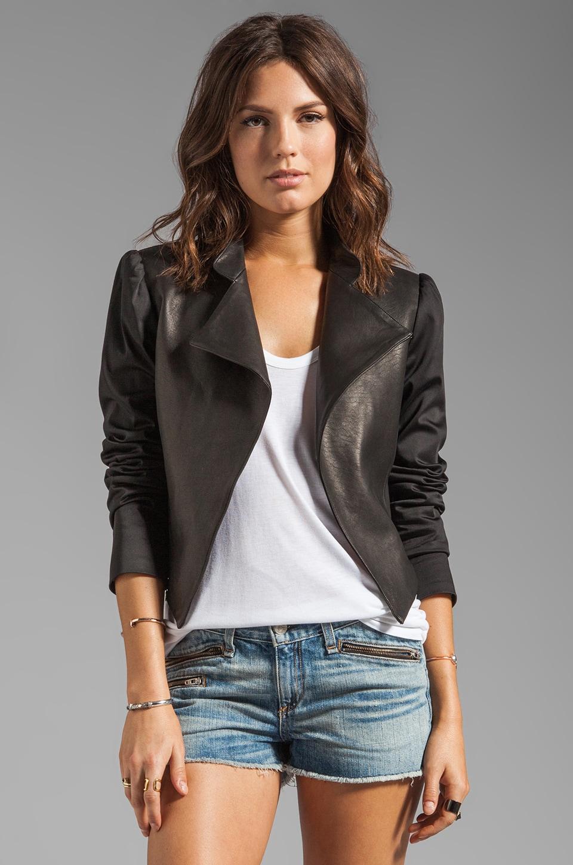 Alice + Olivia Luzia Moto Blazer with Leather Combo in Black