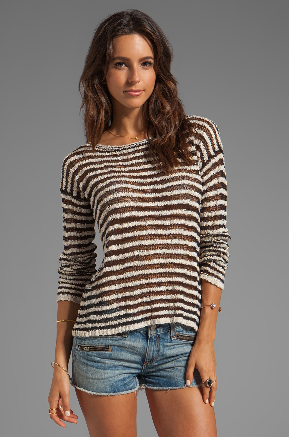 Alice + Olivia Multi Yarn Stripe Ethan Boxy Sweater in Cream/Black