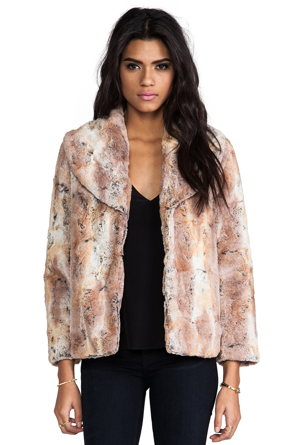 Alice + Olivia Annistyn Round Collar Faux Fur Coat in Brown
